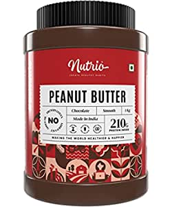 Nutrio Chocolate Peanut Butter 1 KG Creamy (Chocolaty Flavor) | 20% Protein | Made with Roasted Peanuts, Cocoa Powder & Choco Chips | Vegan (Improved)