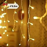 Rideau de Lumière Ulinek 4*0.6m 144 LED Guirlande Decoration d'Eclairage Guirlandes Lumineuses Decoration de Fenêtre, Noël, Mariage, Christmas, Sapin de Noël, Party, Maison [Blanc Chaud]