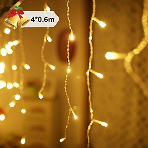Preisvergleich Produktbild Ulinek 4×0.6m Lichterkette mit 144 LED-Lämpchen, Innen und Außen, Wasserdicht Stromsparend Dekoration für Party Garten Weihnachten Halloween Hochzeit (Warmweiß)