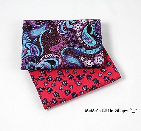 Quality 100% Cotton Fabric (Funky Paisley & Petals) —— 2 Fat Quarters ——
