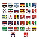 32 Stücke Tattoos Wasserdicht Gesicht Körper Aufkleber Für 32 Länder Flagge Aufkleber