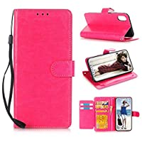 For iPhone X Luxury Leather Case,Y56 Leather Flip Case Cover Wallet For iPhone X(Build-in Card Slots&Moner Pocket,Stand Flip Design,Magnetic Button Closure Design) (Hot Pink)