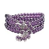 Mes-Bijoux-Bracelets Bracelet Charms et Perle Cadeau Femme Bijou gemme Pierre Naturelle Amethyste 6mm Femme Violet Perle 4 Tours Fleurs wz-B0525