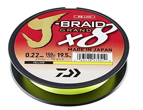 Daiwa J-Braid Grand 8-Braid, 135 Meter, 0.06mm, 5.0kg/11lbs, Gelb, 12790-006