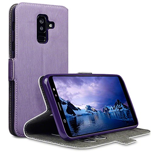 TERRAPIN, Kompatibel mit Samsung Galaxy A6 Plus 2018 Hülle, Premium Leder Flip Handyhülle Samsung Galaxy A6 Plus 2018 Tasche Schutzhülle - Lila