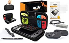 Switch Accessories, Orzly Ultimate Pack for Nintendo Switch [Bundle includes: Glass Screen Protectors, USB Charging Cable, Console Pouch, Cartridge Case, FlexiCase JoyCon Covers, Headphones] - BLACK