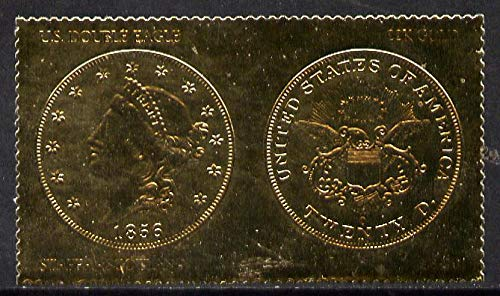 Staffa 1980 US Coins (1856 Double Eagle $20 coin both sides) on £8 perf label embossed in 22 carat gold foil (Rosen 895) u/m COINS AMERICANA BIRDS OF PREY JandRStamps -