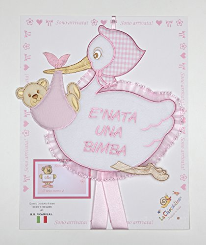 Fiocco nascita cicogna rosa con scritta