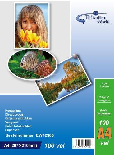 etikettenworld-100-hojas-papel-para-foto-a4-230-g-qm-brillo-resistente-al-agua