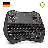 Rii K28C Mini Tastatur Wireless mit Touchpad , mini keyboard with Multimedia Tasten, 2.4 GH Backlit QWERTZ Mini Tastatur Beleuchtet für HTPC,IPTV,Android TV-Box,XBOX360,PS3,PC(DE layout)