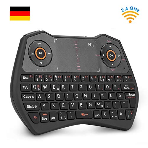 Rii K28C Mini Tastatur Wireless mit Touchpad , mini keyboard with Multimedia Tasten, 2.4 GH Backlit QWERTZ Mini Tastatur Beleuchtet für HTPC,IPTV,Android TV-Box,XBOX360,PS3,PC(DE layout) -