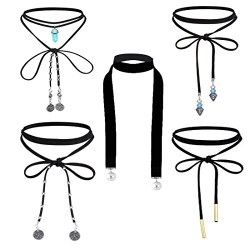 Tpocean 5pcs Punk Gothic Wrap Black Choker Set Long Chain Leather Stretch Tattoo Tassel Necklace Pearl&Coin Pendant Choker Necklace