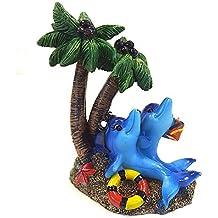 allpondsolutions 61641 - Figura Decorativa para Acuario, diseño de Delfines bajo la Palma