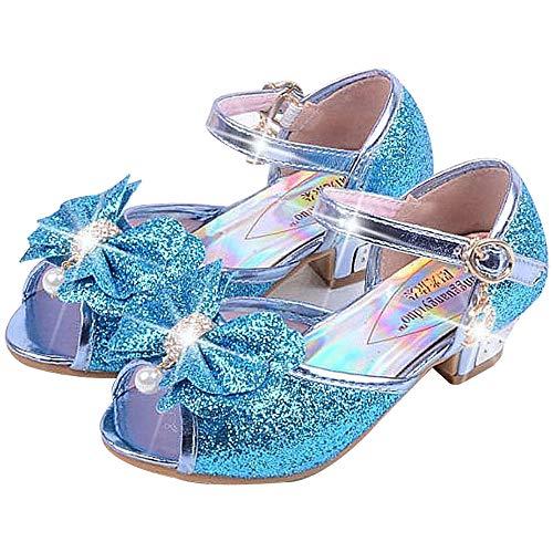 Mädchen Prinzessin High Heel Schuhe Kinder Party Pumps 27 EU/Etikette 29 blau (offene zeh)