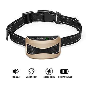 Collier Anti-Aboiement, Waitiee 2017 de mise à niveau Version USB rechargeable Imperméable Chien Collier de Dressage avec 7 niveaux de sensibilité sonores et vibrations, sans choc / sans douleur