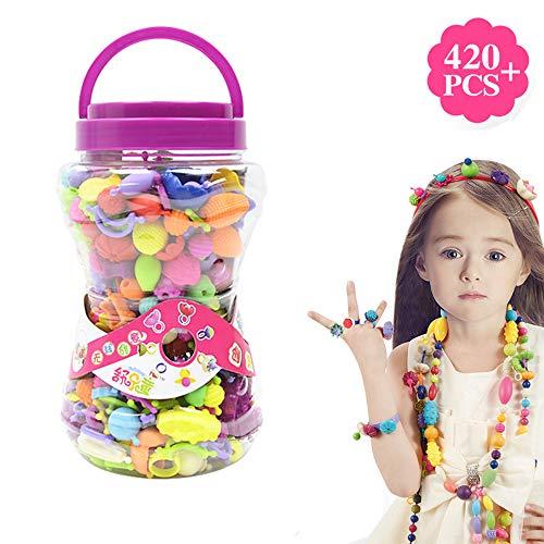 ZMH DIY Pop Perlen, Education Learning Girls Toy Colorful Schmuck Macht Kits Snap-Perlen Set Halskette Armband Ring Akku-Assemble Kids Fun Game Geschenke Art Crafts Art Crafts,420+Pcs - Armband Craft Kit