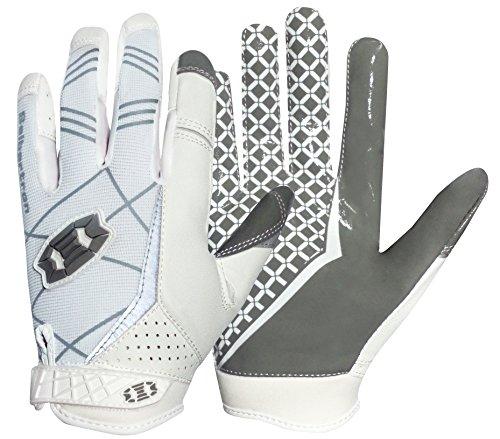 Seibertron Pro 3.0 Elite Ultra-Stick Sports Receiver/Empfänger Handschuhe American Football Gloves Jugend und Erwachsener (Weiß, XS)
