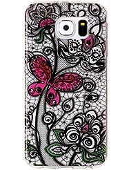 Galaxy S6 Hülle Silikon, Samsung Galaxy S6 Case, Rosa Schleife Ultra Dünn Clear Schutzhülle Schale Case für Samsung Galaxy S6 Tasche Premium TPU Silikon Backcover Schutz Bumper Handyhülle mit Schöne Muster, Schmetterling