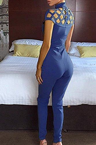 Combinaison Femme IHRKleid® Des femmes Découper Avec cage Col haut Collier Bodycon Jumpsuit Bleu