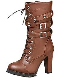 43d7a178efadfd TAOFFEN Damen Arbeiten Absatzschuhe Datierung Arbeit Schnallenriemen Hälfte  Marder Stiefel mit Nieten