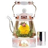Teabloom Herzförmiger Blütentee – Geschenk-Set mit 12 zusammengestellten Blühenden Teeblumen - Grüner Tee + Jasmin, Granatapfel, Erdbeere, Rose, Litchi & Pfirsich - 6