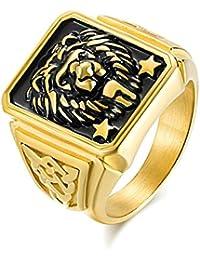 005f4d796479 Beydodo Anillos de Oro de Cabeza de León Anillo de Hombre Acero Inoxidable  Hombre Anillo Oro