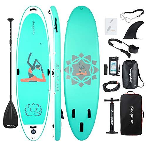 BATURU aufblasbares SUP Board, Stand-up Paddle Board, Sup Paddleboard 325 x 86 x 15 cm,iSUP Paket mit allem Zubehör (Yoga-Aqua, 325 x 86 x 15 cm) - Breite Plattform