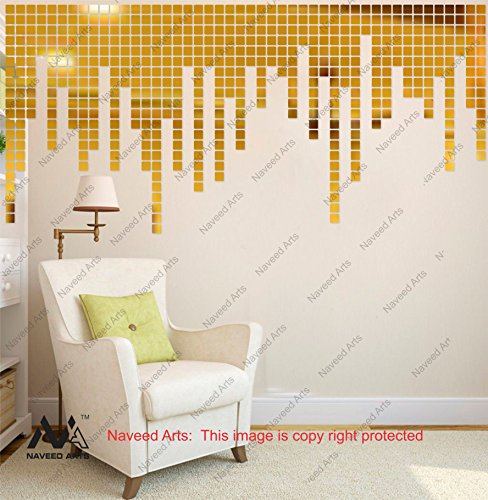 Naveed Arts - Acrylic 3D Wall Décor for home and Office - Mosaic Square Golden Mirror 3mm thick- JB041SG100 - Factory Outlet