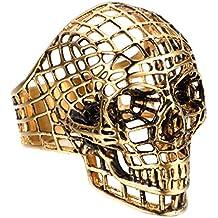 UM Joyería gótico Hombres Acero inoxidable Hueco Fantasma Cabeza Cráneo ciclista anillos Oro