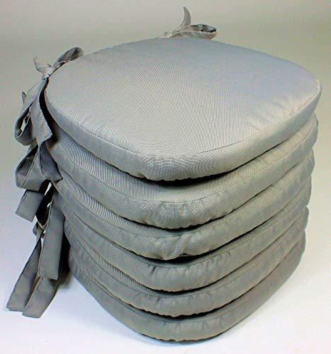 Rattani Set 6 x Stuhlkissen/Sitzkissen Marina mit Schleifen 40 x 40 cm Dicke 5 cm, Fb. Soft Gray, Polyester