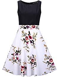 Grapes Garden Women's 1950s Sleeveless Vintage Dress Retro Floral Print Swing Dress Cocktail Evening Party Dress