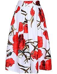 Femmes Sexy jupe Taille Haute Plissée - A-Line élégante Jupe Florale Cocktail Jupe