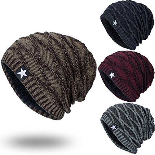 Toamen Winter Knit Hat, Unisex Knit Cap Hedging Head Hat Beanie Cap Warm Outdoor Fashion Hat, Pentagram Plus Cashmere Hats