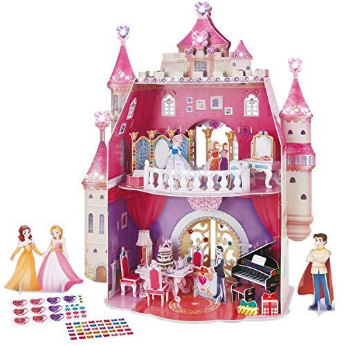 CubicFun 3D Prinzessin Puppenhaus Puzzle mit DIY Kristall Edelsteinen Aufkleber und Möbel, Castle Craft Kits Geschenk Spielzeug für Mädchen 5+ Jahren, Mosaik Sticky Princess Birthday Party, 95 Stück