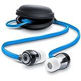 In-Ear Flat Style ALU Kopfhörer / Flat Design Earphone   Neue Modellserie 2016 / widerstandsfähiges Aramid-Flachbandkabel und optimierter Knickschutz   8mm Schallwandler   Transportmanagement / Hardcover   blau