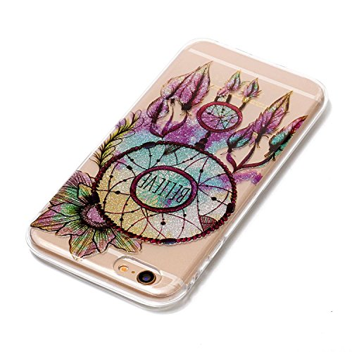 iphone 6S Glitter Custodia, iphone 6 Silicone Cover, Trasparente Caso for iphone 6S 4.7, Ekakashop Moda Fantasia Creative 3d Gel Soft TPU Silicone Gomma Cover, Colorato Painting High penetration IMD  Campanula