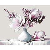JAGENIE Unframed Digitale Ölgemälde DIY Malen Nach Zahlen Retro Magnolia Blume 40 * 50 cm 40 * 50 cm