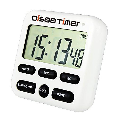 oisee temporizador digital con pantalla LCD de gran tamaño y luces intermitentes Loud Alarma y cuenta atrás con función retráctil soporte y agujero de gancho y Base magnética temporizador de cocina (color blanco)