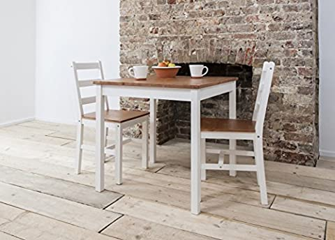Dining Table and 2 Chairs , Dining Set Bistro (White & Natural Pine) by Noa and Nani