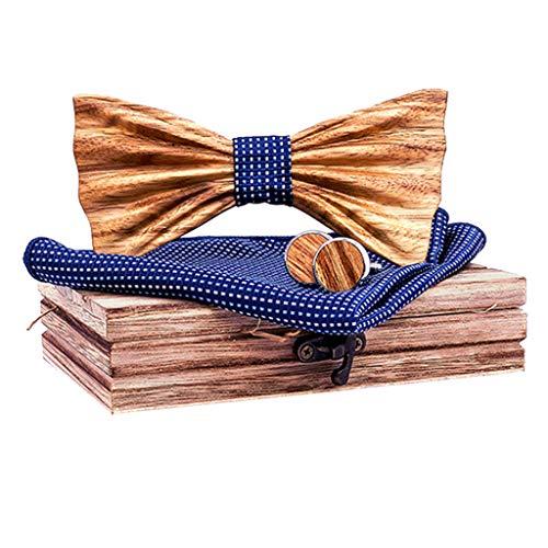 Fenverk 4 Stück Holzfliege Göteborg aus verschiedenen Hölzern mit wechselbarem Stoff Handgefertigt Trendartikel Mascherl Schleife Querbinder