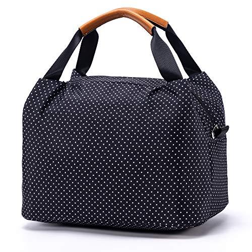 CALIYO Lunchtasche Kühltasche klein Isoliertasche wassedicht Lunchbag mit Reißverschluss Thermotasche faltbar für Arbeit, Schule und unterwegs 9 Liter (Schwarz)