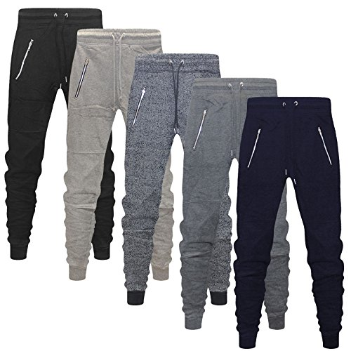 Divided New Mens Skinny Slim Fit Joggers Jogging Bottom Fleece Gym Pants Zip Pockets