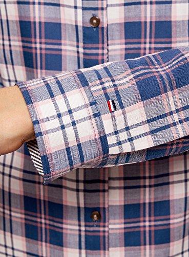 oodji Ultra Donna Camicia Stampata in Cotone Blu (7540C)