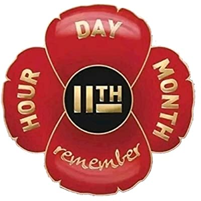 11th Hour Day Month Remembrance Red Flower Pin Badge