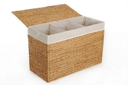 Vivanno Wäschekorb Wäschesortierer Wäschebox 3 Fächer Wasserhyazinthe Divide natur