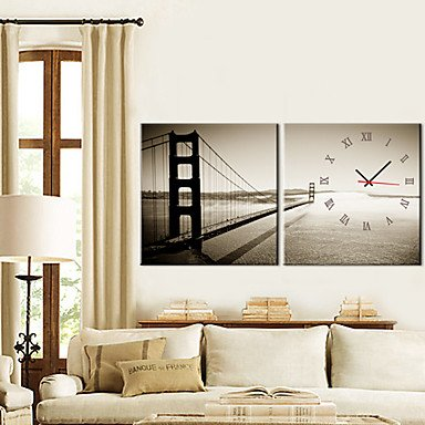 "12""-24\"" Golden Gate Bridge Wall Clock In Canva 2pcs - low-cost UK light store."