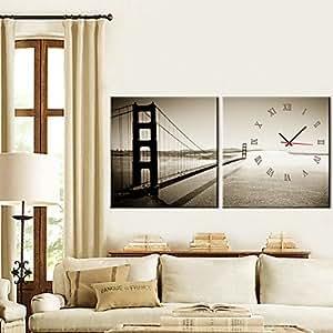 "12 ""-24"" horloge murale golden gate bridge dans 2pcs toile , 12""x12"""