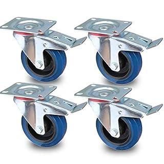 PRIOstahl® Transportrollen Lenkrolle mit Bremse blau | 100mm| blue wheels | Lenkrolle mit Bremse (4 Rollen)