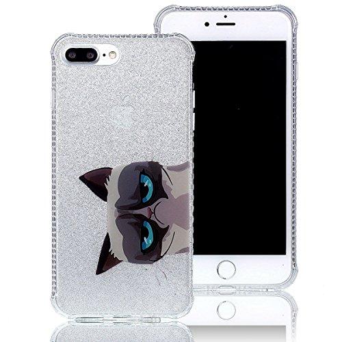 iPhone 7 Plus Hülle (5,5 Zoll), Sunroyal® Weiche TPU Rahmen mit PC Rückdeckel Schutzhülle Bumper Case Hülle ,Ultra Slim Semitransparent Hybrid Bling Glitter Gel Silikon Zurück Buntes Muster Kratzfest  Katze