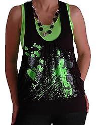 Marke EyeCatch - Graphic Design Druck Neon Fashion Top mit Perlen